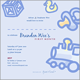 Baby Blue First Month Invites