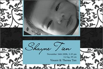 Oriental Classic Birth Announcement Cards