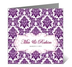 Purple Passion Floral Wedding Card