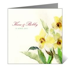 Yellow Posies Floral Wedding Card